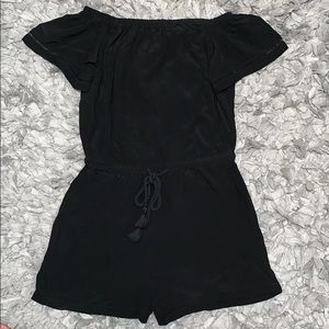 Black off-the-shoulder romper from LOFT!